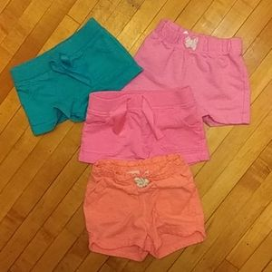 Four pairs of girls infant shorts 18Months